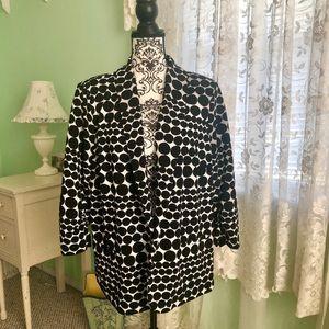 CJ BANKS blazer 1X Black & white dots 3/4 sleeves